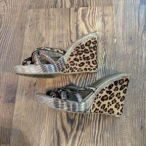 BCBGirls Cheeta Animal Print Wedge Heels